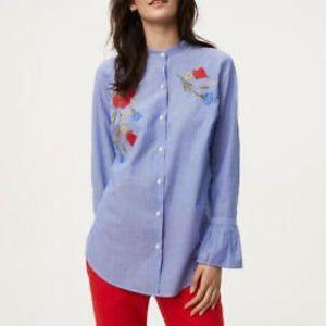 NWT Loft Embroidered Button Up Shirt